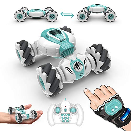 HR RC Car Toys for Kids Mini Portable Pocket Remote Control Car Watch Gesture Sensing, 360° Flips, Deformable Electric, Double Sided Rotating, Birthday Gifts for Boys and Girls