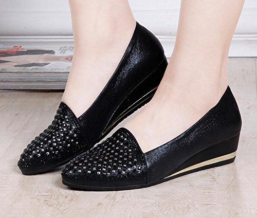 De De El Zapatos Moda Mujer Con Femeninos De Taladro Moda Carne Zapatos Costillas Singles En Pekín Viejo Los AJUNR Moda De Tela Zapatos De De Zapatos black Mujer De Btptaq
