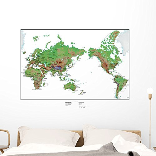 Cheap  Wallmonkeys Topographical World Map Wall Mural Peel and Stick Graphic (48 in..