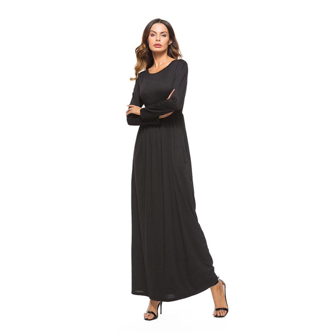 ... Womens Casual Loose Long Dress Sexy Ladies Spring Autumn Stylish Pockets O Neck Long Sleeve Dress Evening Party Long Dress: Amazon.co.uk: Clothing