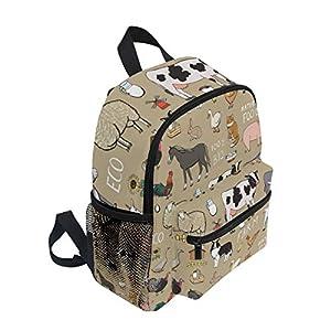 BALII Seamless Farm Animals Toddler Backpack Book Bag School Rucksack for Girl Boy Children