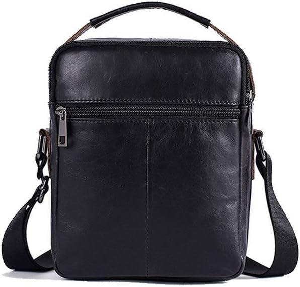 Douhuayu Retro Casual one Shoulder Slung Leather Mens Bag Color : Black, Size : 18624 cm