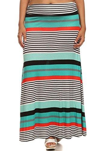 CANARI New Women's Plus Size Teal & Black Stripes Print Nina Maxi Skirt 1X
