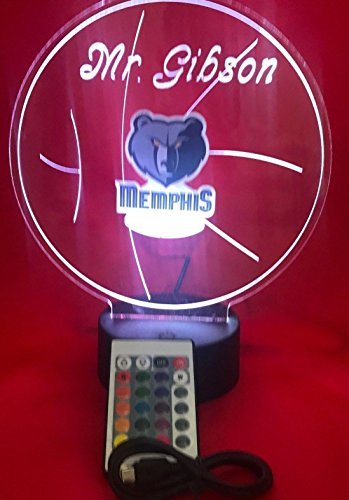 Memphis Beautiful Handmade Acrylic Personalized Grizzlies Basketball Light Up Light Lamp LED, Our Newest Feature - It's Wow, Comes with Remote,16 Color Options, Dimmer, Free Engraved, Great Gift