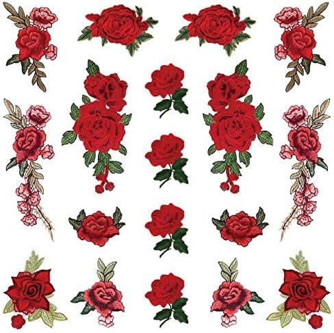 [スポンサー プロダクト]フェリモア バラ アップリケ 18枚セット 刺繍ワッペン DIY ローズ デザインに