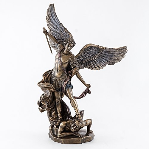 "Top Collection 15"" St. Michael The Archangel Statue. Cold Cast Bronze"