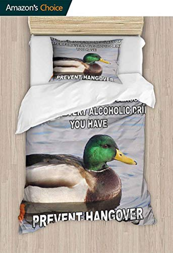 Temox Animal Style 3D Digital Print Bedding Sets, Cute Mallard Duck Swimming on The Lake River Green Head Feathers Nature Design Print, Cover Sets Soft Microfiber 2Pcs Quilt Cover,63 W x 82 L Inches]()