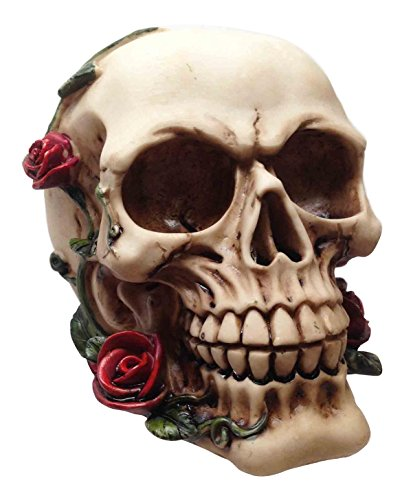 Ebros Day Of The Dead Halloween Human Skull With Thistle Thorn Roses Statue Skeleton Figurine
