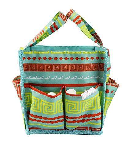 April Fashions NHY009-16-TO Organizer Caddy Tote, Craft Organizer, Lucky Bingo Bag, Baby Diaper Bags, Green Greek Key Pattern]()