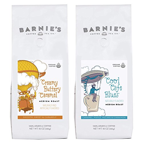 Barnie's Coffee & Tea Caramel Flavors Ground Coffee Duo, Cool Café Blues, Caramel Buttery Caramel, Medium Roast, Arabica Coffee, Two 10 oz. ()