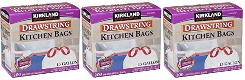 Kirkland Signature Drawstring wlIbGq Kitchen Trash Bags - 13 Gallon, 3Pack (200 Count) by MegaDeal