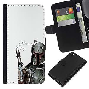 LECELL--Cuero de la tarjeta la carpeta del tirón Smartphone Slots Protección Holder For Sony Xperia Z3 D6603 -- Prueba clara Bobba Fett --