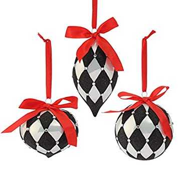 amazoncom raz imports town square theme black and white ornaments with red satin ribbon set of 3 harlequin mixed shapes home kitchen - Black And White Christmas Ornaments