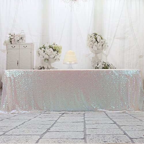 Eternal Beauty 60'' X 120'' Iridescence Sequin Tablecloth Wedding Banquet Party Rectangle Table Cover