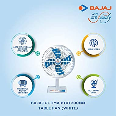 Bajaj Ultima PT01 200mm Table Fan (White) 10