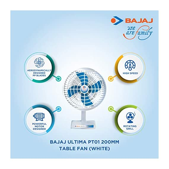 Bajaj Ultima PT01 200mm Table Fan (White) 4