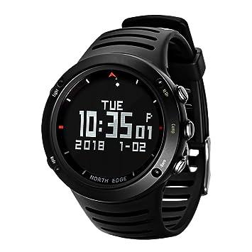 OOLIFENG Reloj Deportivo Digital Deportivo para Hombres, Reloj De Pulsera Impermeable 50M con Pantalla LED De Luz De Fondo Altímetro Barómetro Brújula ...