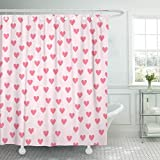 Cerise Pink Shower Curtain Emvency Fabric Shower Curtain with Hooks Red Love Heart Pattern Pink Valentine Rose Romance Cute Day Affair Amaranth 72