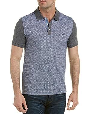 Mens Jacquard Heritage Slim Fit Polo Shirt, S, Grey