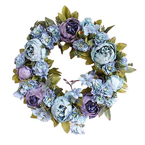 Yokoke Peony Wreath Rose Floral Twig Wreath 16 Inch Handmade Vintage Artificial Flowers Garland Front Door Wreath Beautiful Silk For Spring And Summer Wreath Display (blue) ()