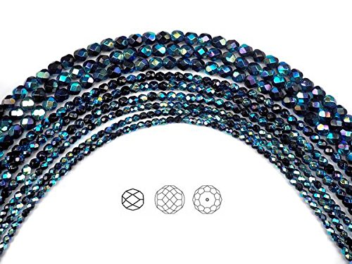 4mm (102 beads) Jet Full AB (AB2X), Czech Fire Polished Round Faceted Glass Beads, 16 inch ()