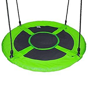 Hi Suyi 100cm/60cm Disc Giant Nest Web Rope Hanging Tree Swing Seat Set Heavy Duty Easy to Set Up For Kids Children…