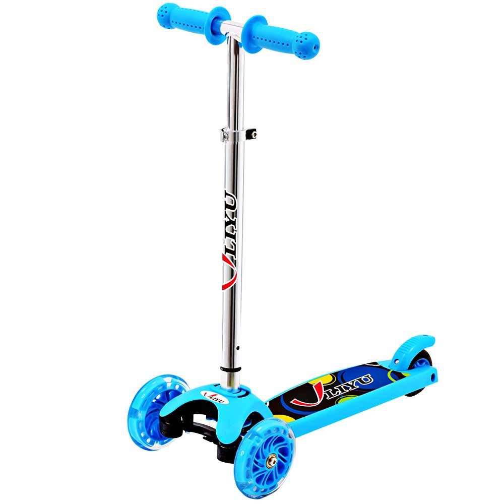 Micro Kick 3 Wheel Scooters with Flashing Wheel for Age 2-6 Kids (Blue)