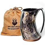 Norse Tradesman Genuine Viking Drinking Horn Mug - 100% Authentic Beer Horn Tankard w/ Thor's Hammer Engraving | 24 Ounces | The 'Mjolnir'