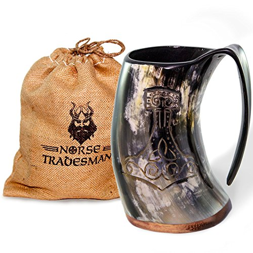 Norse Tradesman Genuine Viking Drinking Horn Mug - 100% Authentic Beer Horn Tankard w/Thor's Hammer Engraving |