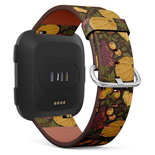 Compatible with Fitbit Versa - Leather Watch Wrist Band Strap Bracelet with Quick-Release Pins (Autumn Harvest Pumpkin Sunflower Nuts)