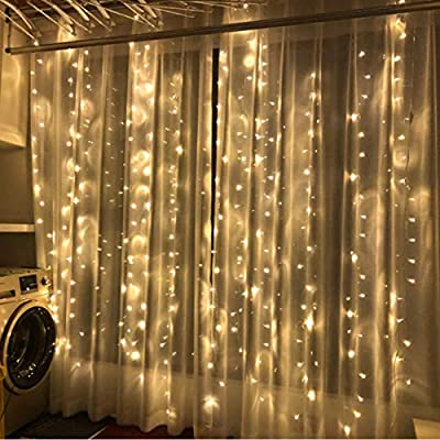 LED Cortina Carámbano Cadena Luz De Hadas 304 LEDs 8 Modos Cortina Cadena Luz Banquete De Boda De Navidad Decoración De Jardín De Navidad 3 M * 3 M: Amazon.es: Iluminación