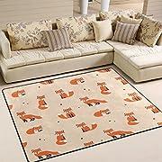 ALAZA Cute Polka Dot Cartoon Foxes Area Rug Rug Carpet for Living Room Bedroom 5'3 x4'
