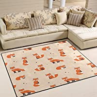 ALAZA Cute Polka Dot Cartoon Foxes Area Rug Rug Carpet for Living Room Bedroo...