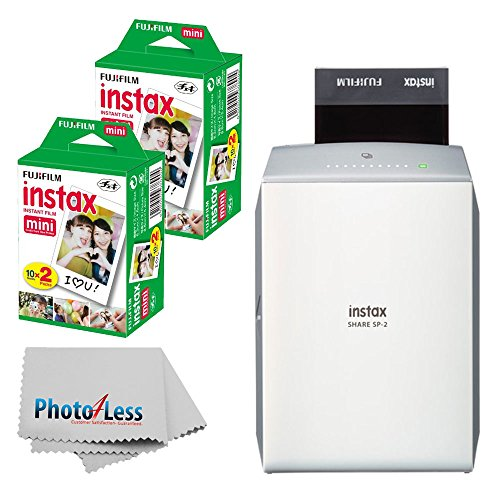 (Fujifilm instax Share Smartphone Printer SP-2 (Silver) + Fujifilm Instax Mini Twin Pack Instant Film (40 Shots) + Photo4Less Cleaning Cloth + Filming Bundle)