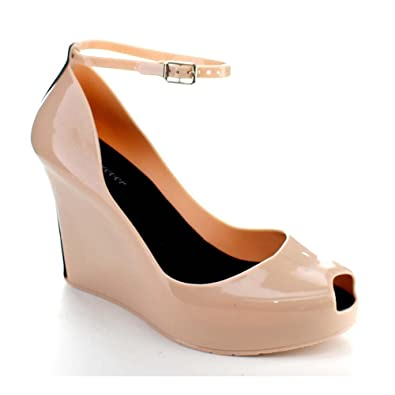 4158ff59f5e5 Forever ROSEMARY-86 Women s Peep Toe Wedge Heel Jelly Sandals