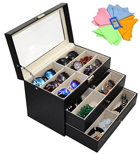ADTL 3 layer 18 Slots Eyeglass Sunglass Storage Box Display Glasses Textured - Sunglasses Organizer Storage