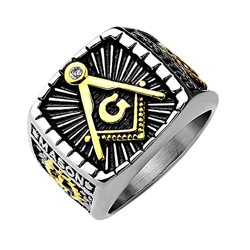 (Artisan Owl Freemasons Masonic IP Gold and Burnished Square Face Stainless Steel Casting Ring (13))