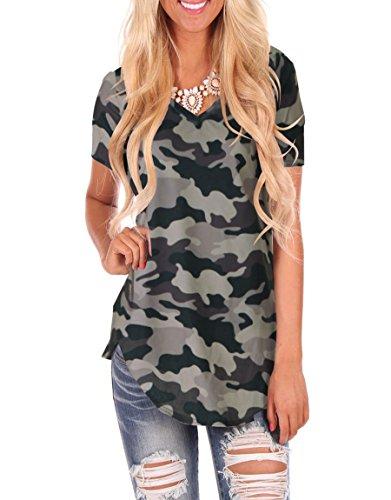 WFTBDREAM Women's Loose Casual Short Sleeves Tops V Neck Tee Shirts Camo Grey (Camo V-neck Tee)