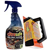 Citrusafe BBQ Grill Cleaner Spray 23oz and BBQ Grill Scrubber with 3 Heavy Duty Replaceable Scrubber Pads Combo Pack