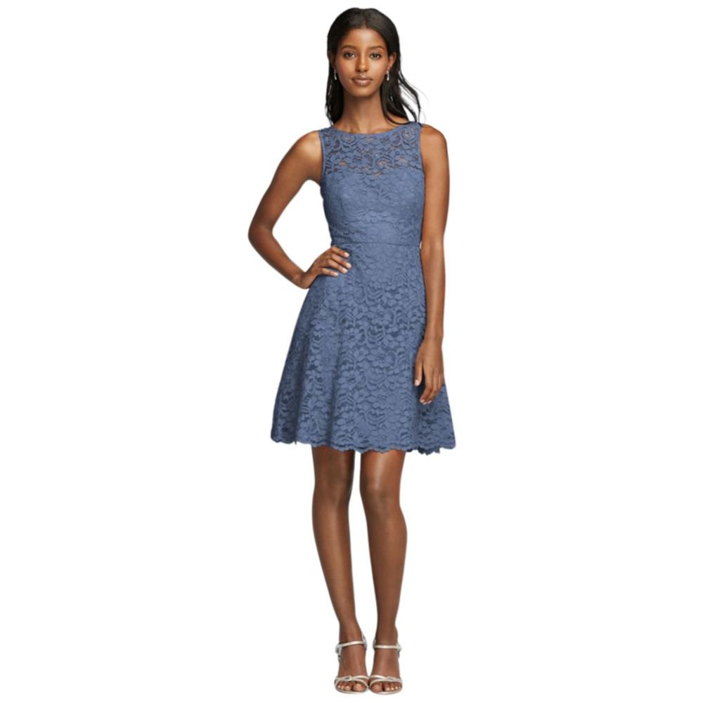David's Bridal Short Sleeveless All Over Lace Bridesmaid Dress Style F18031, Steel Blue, 14