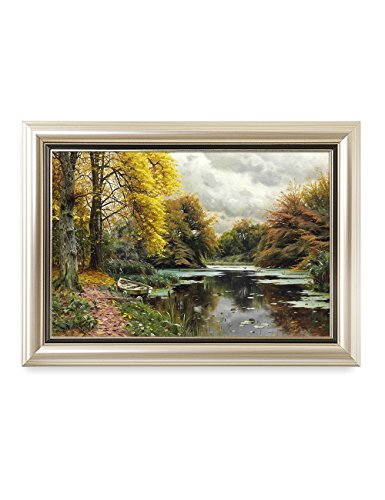 DecorArts - River Landscape 1903, Peder Mork Monsted Classic Art Reproductions. Giclee Prints& Museum Quality Framed Art for Wall Decor. Framed size: 29x21
