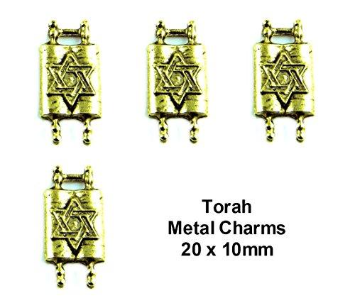 PlanetZia 6pcs Jewish Torah with Star of David Charms For Jewelry Making TVT-1022-1 (Antique Gold) - Jewish Star Charm