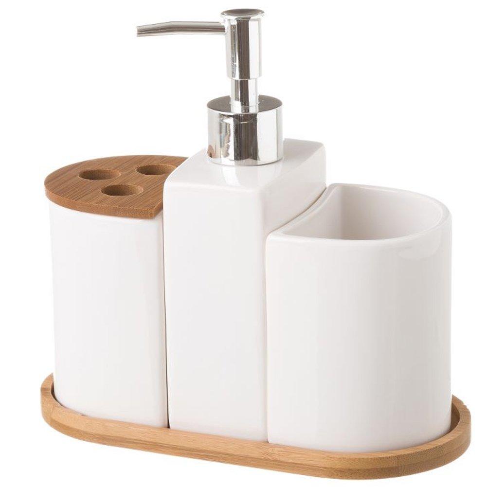 BAKAJI Set Accessori da Bagno 3pz con Dispenser Sapone Bicchiere e Portaspazzolini in Legno di Bambu' e Ceramica Colore Bamboo Naturale e Bianco