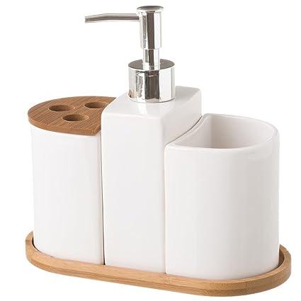 BAKAJI Set Accessori da Bagno 3pz con Dispenser Sapone Bicchiere e  Portaspazzolini in Legno di Bambu\' e Ceramica Colore Bamboo Naturale e  Bianco