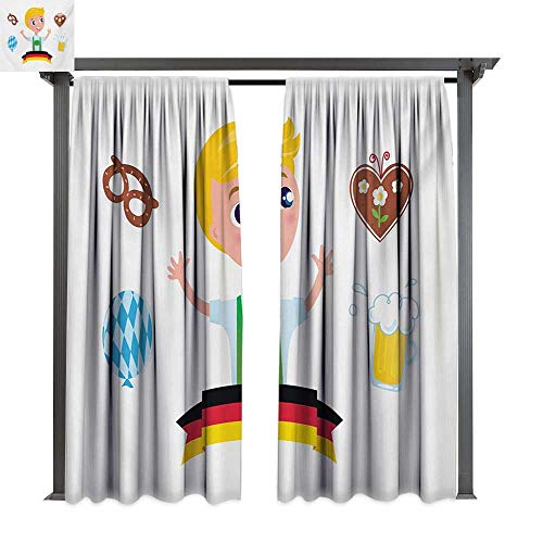 bybyhome Outdoor Door Curtain German Bavarian Boy with Blonde Hair with Oktoberfest Symbols Beer Balloon and Pretzel W120 xL96 Suitable for Front Porch,pergola,Cabana,Covered Patio