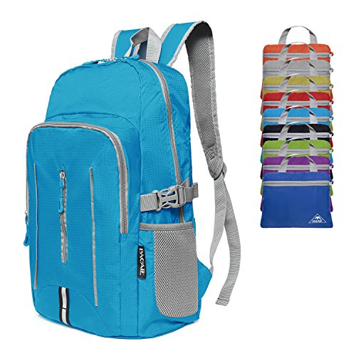 BAGAIL 25L Ultra Lightweight Packable Daypack Durable Waterproof Travel Hiking Backpack Blue - Small School Backpack