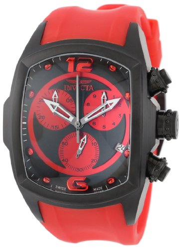 Collection Lupah - Invicta Men's 6728 Lupah Collection Chronograph Black Ion-Plated Red Rubber Watch