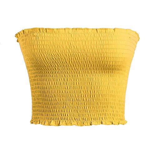 GATHY Women's Strapless Pleated Sexy Tube Crop Tops (Small/Medium, - Tube Yellow