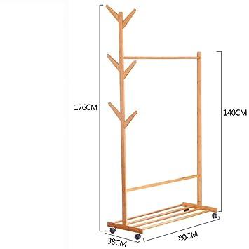 Árbol de estantes y percheros, Salón perchas, Bambú piso ...