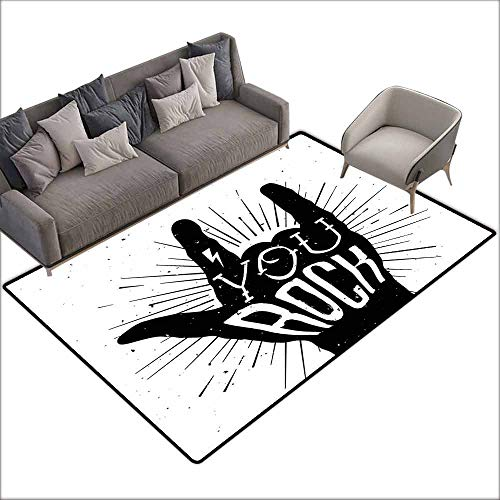 Door Rug Area Rug Rock Music You Rock Quote with Devil Symbol and Abstract Lines Monochrome Tattoo Pattern Anti-Fading W6'7 x L7'10 Black White